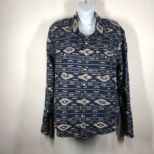 Gap southwestern print snap button down shirt sz m